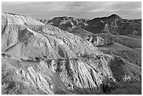 Badlands and hills, Dinosaur Provincial Park. Alberta, Canada (black and white)