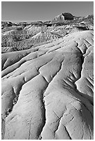 Coulee badlands with clay erosion patters, Dinosaur Provincial Park. Alberta, Canada (black and white)