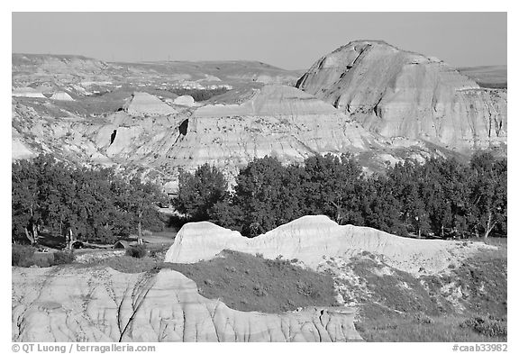 Campground amongst badlands, Dinosaur Provincial Park. Alberta, Canada (black and white)