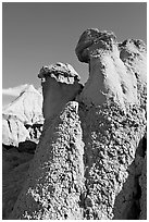Capstone chimneys and popcorn mudstone, Dinosaur Provincial Park. Alberta, Canada (black and white)