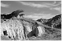 Caprock rocks and badlands, Dinosaur Provincial Park. Alberta, Canada (black and white)
