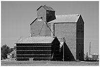 Grain storage facility. Alberta, Canada (black and white)