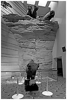 Interpretative center exhibit, Head-smashed-In Buffalo Jump. Alberta, Canada (black and white)