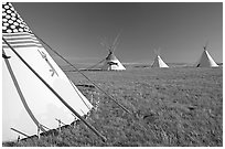Indian Teepees,  Head-Smashed-In Buffalo Jump. Alberta, Canada ( black and white)
