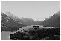 Prince of Wales hotel over Waterton Lakes, dusk. Waterton Lakes National Park, Alberta, Canada ( black and white)