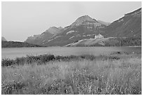 Prince of Wales hotel and upper Waterton Lake, dawn. Waterton Lakes National Park, Alberta, Canada (black and white)