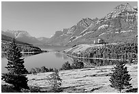 Waterton Lakes. Waterton Lakes National Park, Alberta, Canada (black and white)