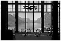 Lobby of Prince of Wales hotel with view over Waterton Lake. Waterton Lakes National Park, Alberta, Canada ( black and white)