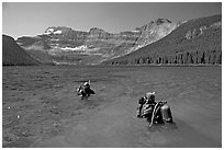 Scuba diving in a mountain Lake,. Waterton Lakes National Park, Alberta, Canada ( black and white)