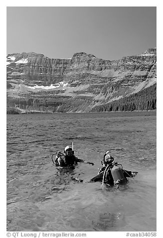 Scuba diving in Cameron Lake, a cold mountain lake. Waterton Lakes National Park, Alberta, Canada (black and white)