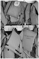 Lifevests in Cameron Lake boathouse. Waterton Lakes National Park, Alberta, Canada (black and white)