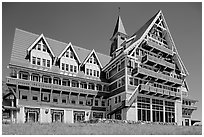 Prince of Wales hotel facade. Waterton Lakes National Park, Alberta, Canada ( black and white)