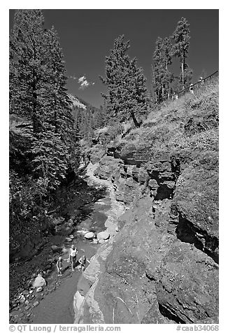 Family in Red Rock Canyon. Waterton Lakes National Park, Alberta, Canada (black and white)