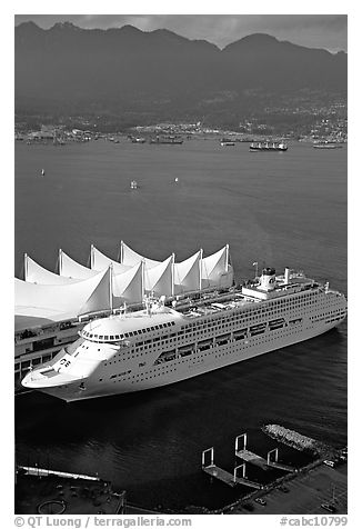 Canada Place, cruise ship, and Burrard Inlet. Vancouver, British Columbia, Canada (black and white)