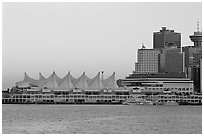 Canada Place and skyline at dusk. Vancouver, British Columbia, Canada (black and white)