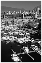 Small boat harbor on False Creek. Vancouver, British Columbia, Canada ( black and white)