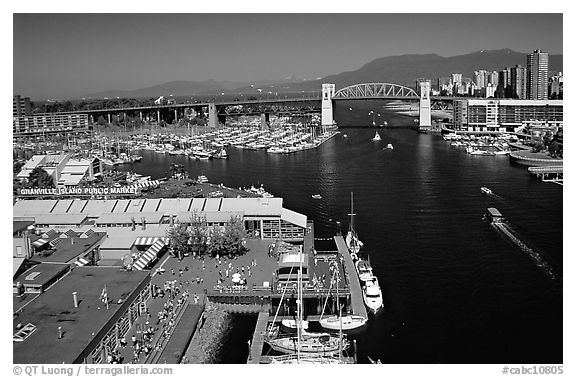 Granville Island and False Creek. Vancouver, British Columbia, Canada (black and white)