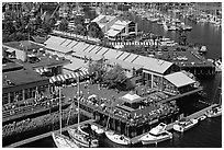 Granville Island and Public Market. Vancouver, British Columbia, Canada ( black and white)
