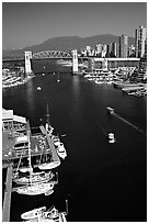 False Creek and Burrard Bridge. Vancouver, British Columbia, Canada ( black and white)