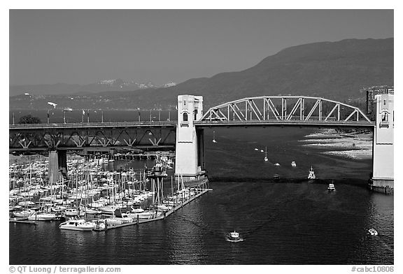 Burrard Bridge and mountains. Vancouver, British Columbia, Canada (black and white)