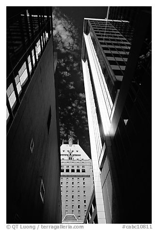 High rise downtown buildings seen from below. Vancouver, British Columbia, Canada (black and white)