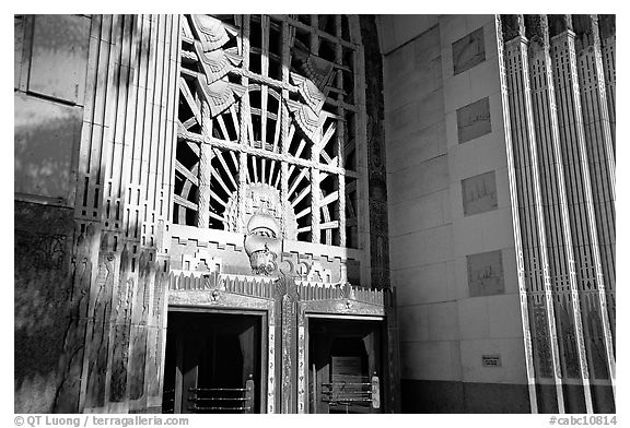 Ornate art deco Marine Building entrance. Vancouver, British Columbia, Canada (black and white)