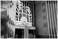 Ornate art deco Marine Building entrance. Vancouver, British Columbia, Canada ( black and white)