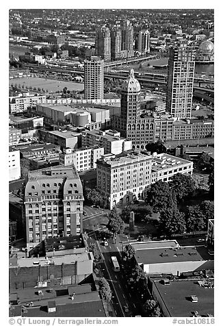 View from the Harbour Centre tower. Vancouver, British Columbia, Canada (black and white)
