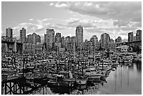Skyline and small boat harbor. Vancouver, British Columbia, Canada ( black and white)