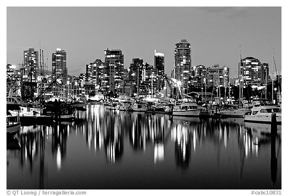 Black And White Picture Photo Fishing Boats And Skyline Light Reflected At Night Vancouver