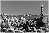 Balanced rocks, Stanley Park. Vancouver, British Columbia, Canada ( black and white)