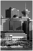 Harbor center, late afternoon. Vancouver, British Columbia, Canada (black and white)