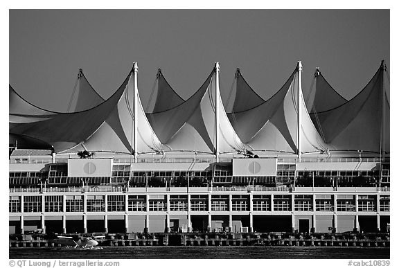 Canada Place and seaplane. Vancouver, British Columbia, Canada (black and white)