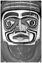 Totem detail, Stanley Park. Vancouver, British Columbia, Canada (black and white)