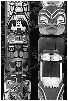 Two Totem sections, Stanley Park. Vancouver, British Columbia, Canada (black and white)