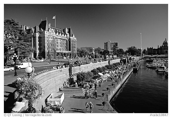 Inner harbor quay and Empress hotel. Victoria, British Columbia, Canada (black and white)