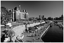 Inner harbor quay and Empress hotel. Victoria, British Columbia, Canada ( black and white)