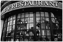 Pub and restaurant windows. Victoria, British Columbia, Canada (black and white)