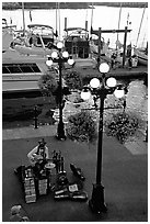 Street performers on the quay of Inner Harbor. Victoria, British Columbia, Canada ( black and white)