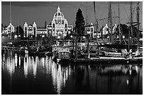 Inner harbor at night. Victoria, British Columbia, Canada ( black and white)
