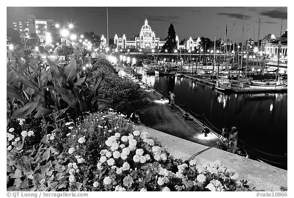 Flowers, inner harbour, and lights at night. Victoria, British Columbia, Canada