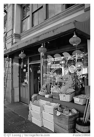 Storefront in Chinatown. Victoria, British Columbia, Canada (black and white)
