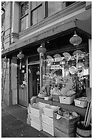 Storefront in Chinatown. Victoria, British Columbia, Canada ( black and white)