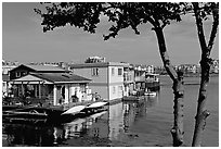 Houseboats. Victoria, British Columbia, Canada ( black and white)