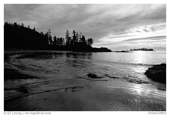 Half-moon bay, late afternoon. Pacific Rim National Park, Vancouver Island, British Columbia, Canada (black and white)