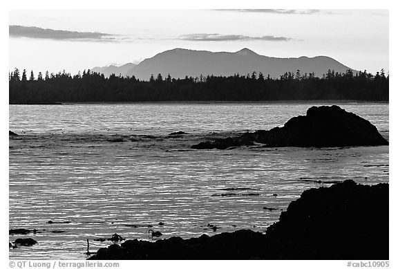 Rocks, tree line, and mountains from Half-moon bay, late afternoon. Pacific Rim National Park, Vancouver Island, British Columbia, Canada (black and white)
