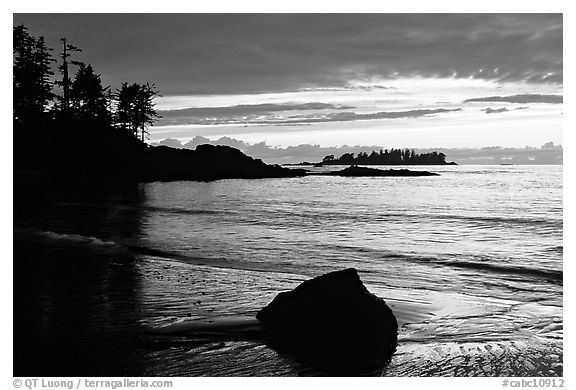 Rock and bay at sunset, Half-moon bay. Pacific Rim National Park, Vancouver Island, British Columbia, Canada (black and white)