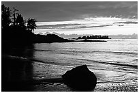 Rock and bay at sunset, Half-moon bay. Pacific Rim National Park, Vancouver Island, British Columbia, Canada ( black and white)
