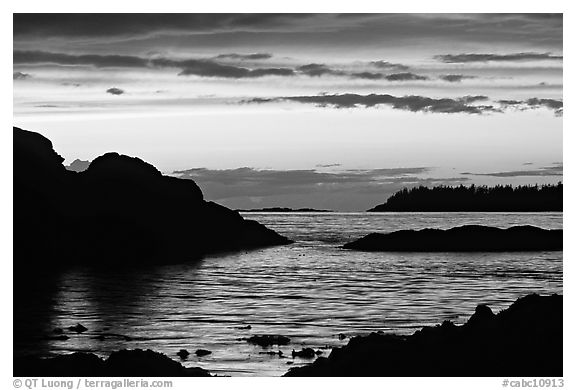 Sunset, Half-moon bay. Pacific Rim National Park, Vancouver Island, British Columbia, Canada (black and white)