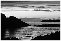 Sunset, Half-moon bay. Pacific Rim National Park, Vancouver Island, British Columbia, Canada ( black and white)